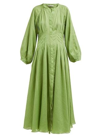 Valeraine Gathered Ramie Dress