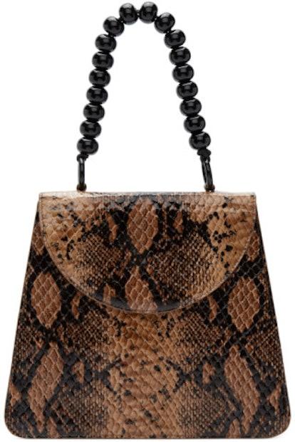 Beige Python Top Handle Bag
