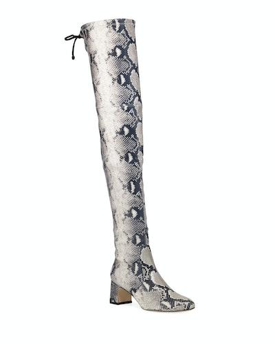 Stuart Weitzman Kirstie 60mm Python-Print Leather Over-The-Knee Boots