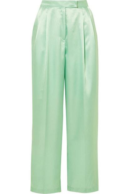 Karen Satin Wide-Leg Pants