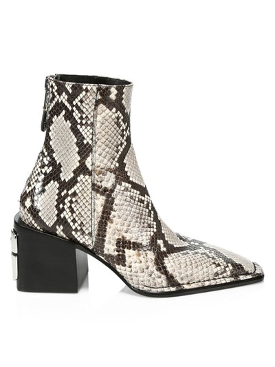 Alexander Wang Parker Roccia Snake Print Embossed Leather Ankle Boots