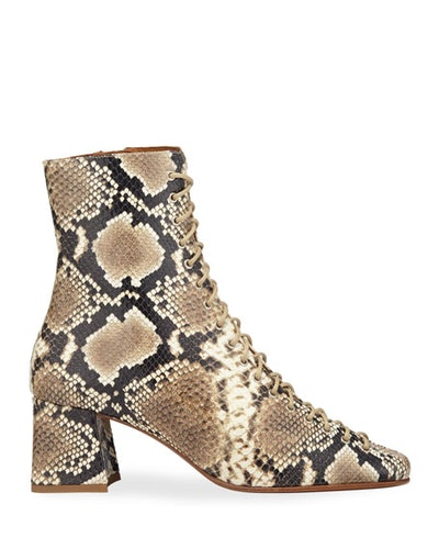 By Far Becca Snake-Print Laced Booties