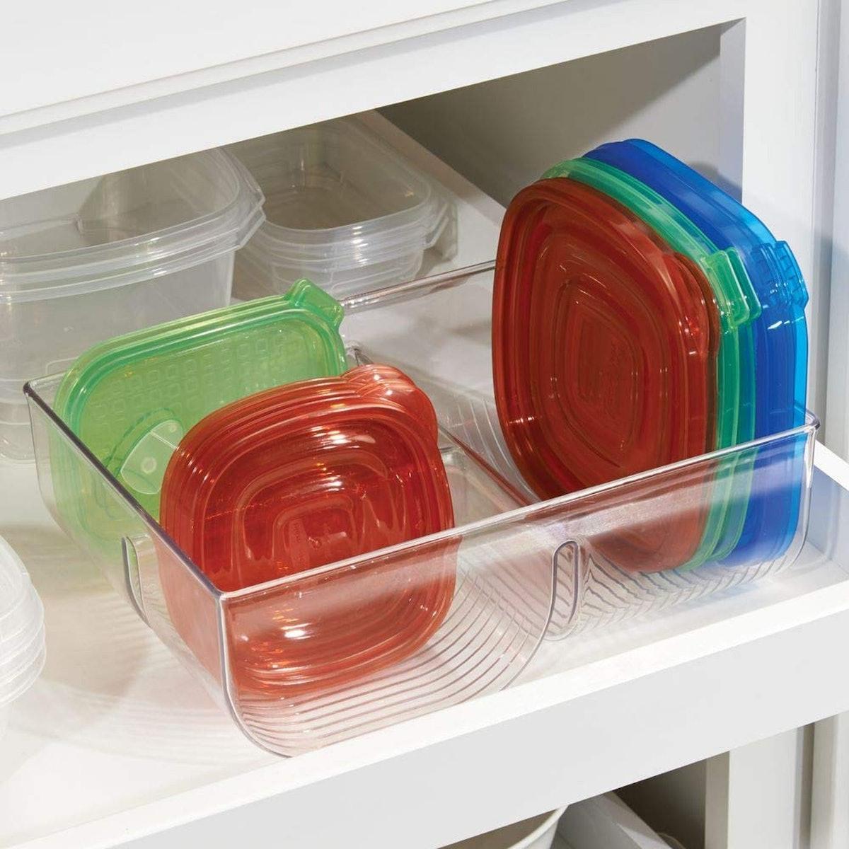 mDesign Food Storage Container Lid Organizer