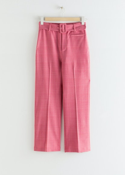 Belted Plaid Kick Flare Trousers