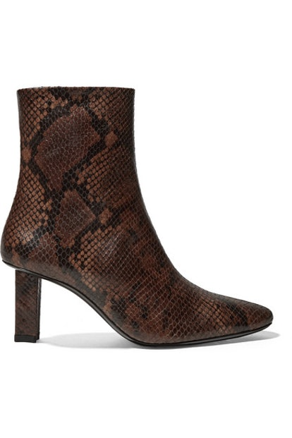 Brando Snake-Effect Leather Ankle Boots