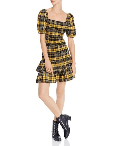 Puff-Sleeve Plaid Smocked Top & Flannel Skirt