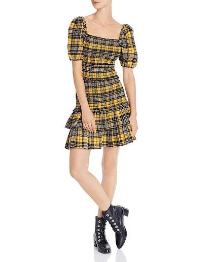 Puff-Sleeve Plaid Smocked Top & Flannel Skirt