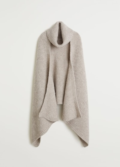 Stand Neck Cape in Beige