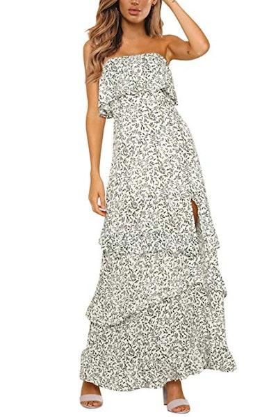 Yidarton Strapless Maxi Dress