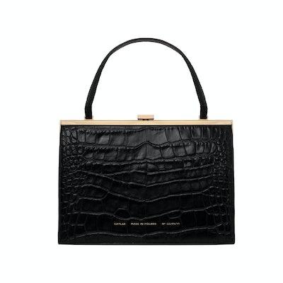 Glossy Black Croc Vintage Clasp Bag