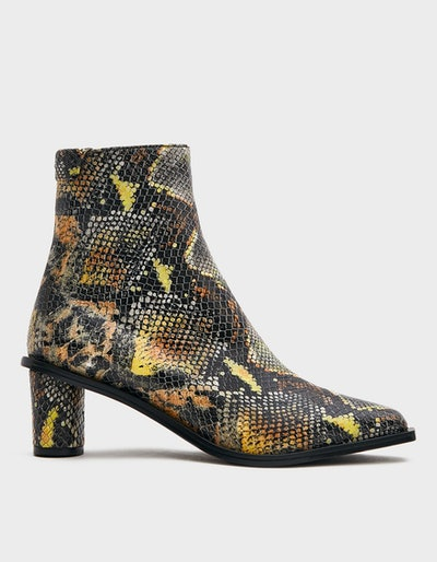 Wave Heel Ankle Boot in Snake