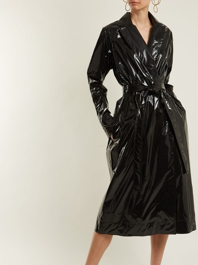 Rubbish Tie-Waist Vinyl Trench Coat