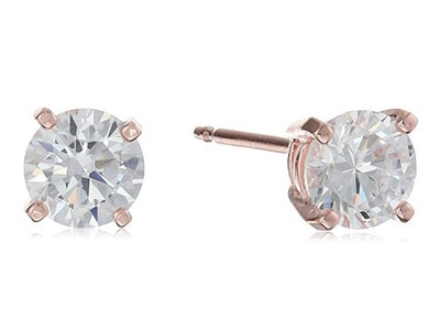 Amazon Essentials Plated Sterling Silver Cubic Zirconia Studs