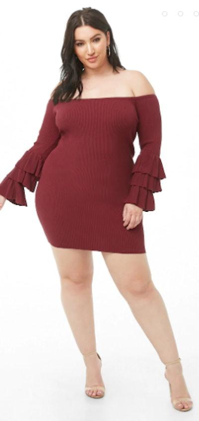 Wine Off The Shoulder Dress