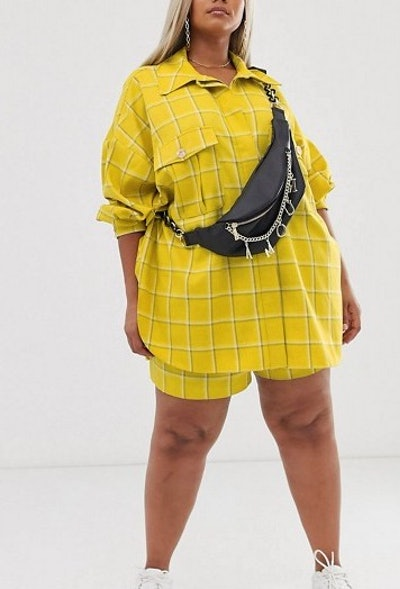 Shacket & Short Suit In Yellow Check