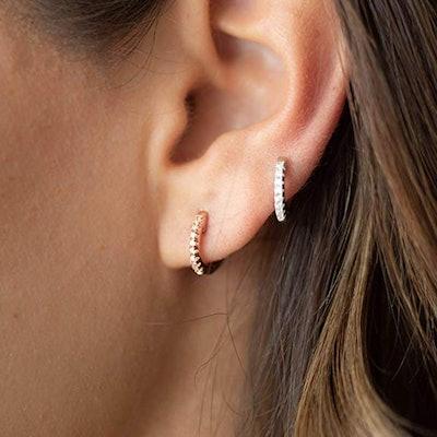 PAVOI Cubic Zirconia Huggie Earrings