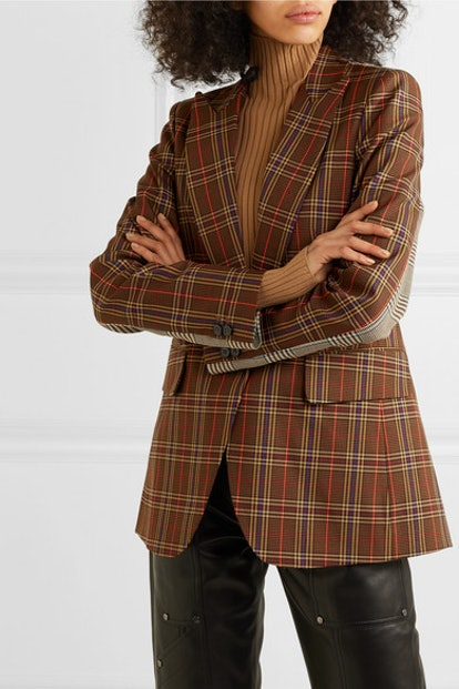 Paneled Checked Jacquard Blazer