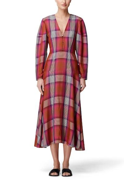V-Neck Plaid Dress
