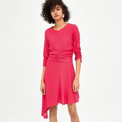 Zara Gathered Polka Dot Dress