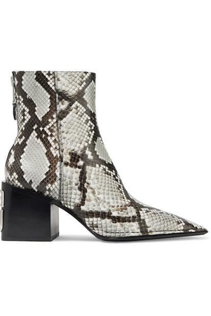 Parker Logo-Embellished Snake-Effect Leather Ankle Boots