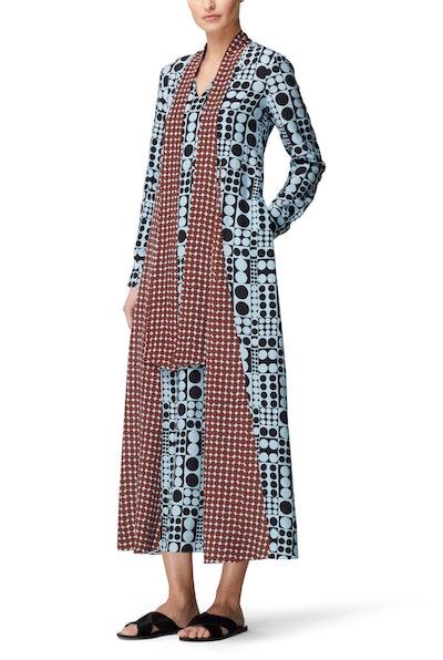 Tie-Neck Godet Dress