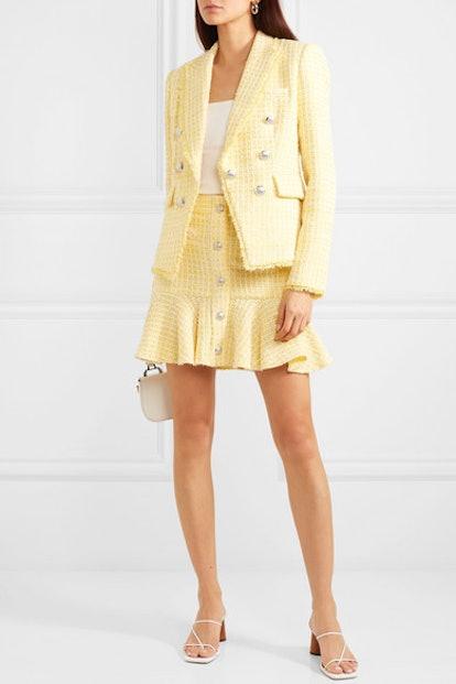 Dickey Double-Breasted Checked Bouclé-Tweed Blazer & Ruffled Mini Skirt