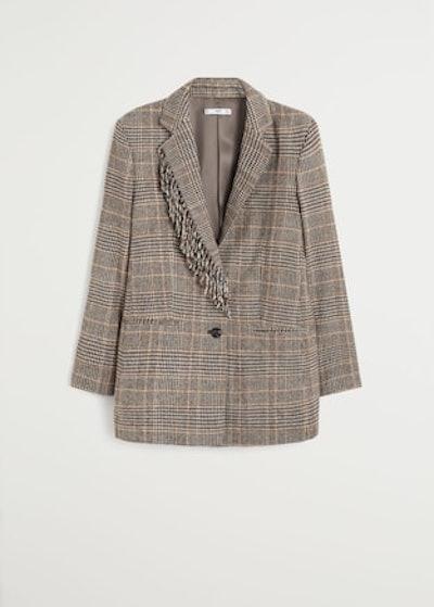 Fringed Wool Blazer in Brown