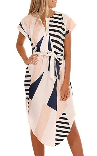 ECOWISH Geometric Pattern Belted Dress