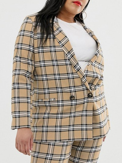 Brown Check Suit Blazer