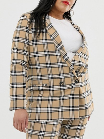 Brown Check Suit Blazer
