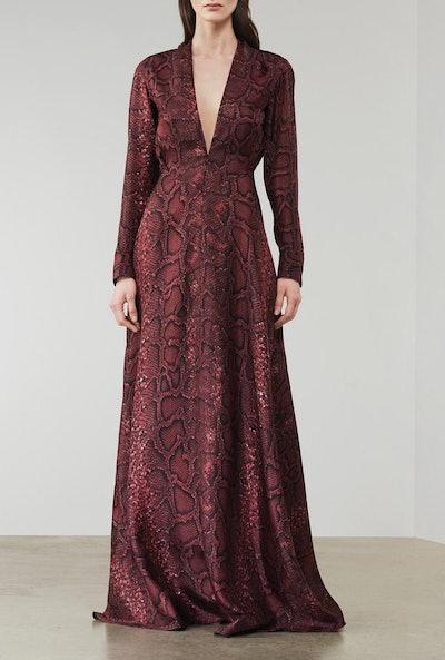 Snake Print Floorlength Dress