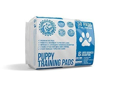 Bulldogology Premium Puppy Pee Pads with Adhesive Sticky Tape (50-Count)