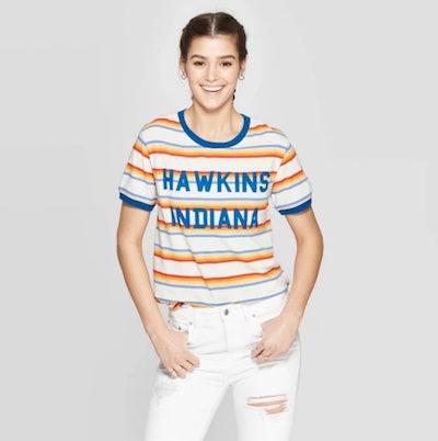 Women's Stranger Things Hawkins Indiana Striped Short Sleeve T-Shirt