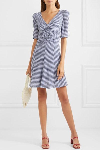 Frites Gingham Stretch-Seersucker Mini Dress