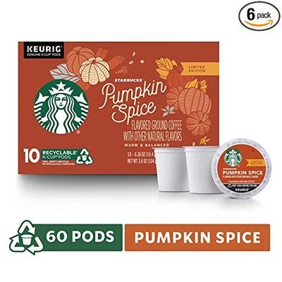 Starbucks Pumpkin Spice Flavored Single-Cup Coffee for Keurig Brewers, 6 Boxes of 10