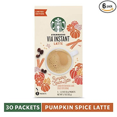 Starbucks VIA Instant Pumpkin Spice Latte, 6 Boxes of 5
