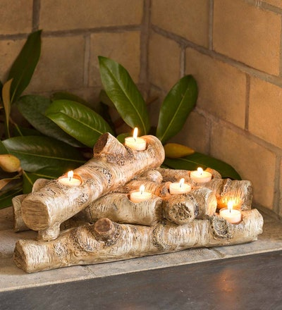 Logs Hearth Candle Holder