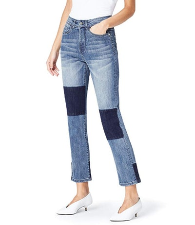 find. Women's Straight Leg High Rise Contrast Jeans