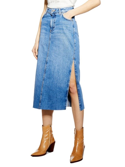 Split Denim Midi Skirt