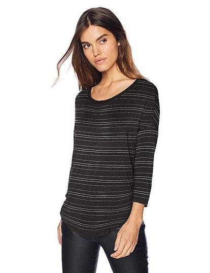 Daily Ritual Women's Jersey Rib-Trim Drop-Shoulder Scoop-Neck Shirt