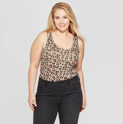 Women's Plus Size Leopard Print Scoop Neck Perfect Tank