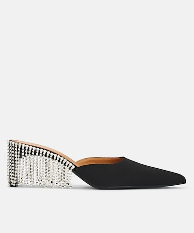Crystal-Fringed Satin Mules