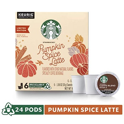 Starbucks Pumpkin Spice Caffe Latte Single-Cup Coffee for Keurig Brewers, 4 Boxes of 6