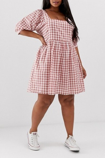 Chuck On Square Neck Mini Smock Dress In Gingham