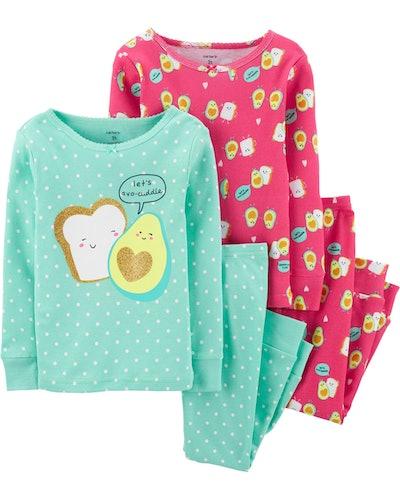 4-Piece Avocado Toast Snug Fit Cotton PJs