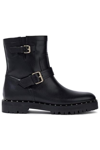 Valentino Garavani Studded Glossed-Leather Ankle Boots