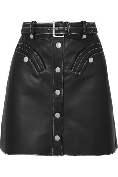 Janaille Belted Leather Mini Skirt