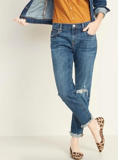 Mid-Rise Boyfriend Straight Distressed Jeans