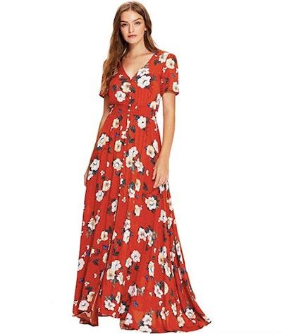 Milumia Women Floral Print Button Up Dress