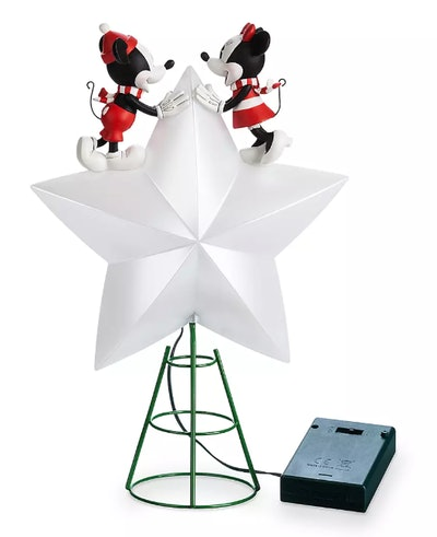 Mickey and Minnie Mouse Light-Up Holiday Tree Topper